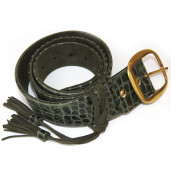 Dark green leather and suede lined belt