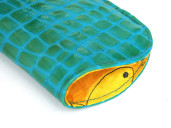 Shiny sea green croc-print leather sunglasses or spectacles case