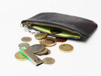 Black crocco leather coin purse with lime lining
