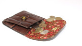 Brown crocco leather coin purse with country lining