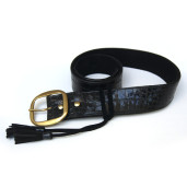 Black shiny crooco leather belt with matching tassels