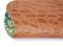 Lively taupe print leather with  Old ships cotton lining spectacles case