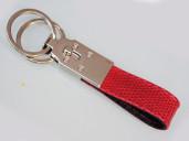 Red lizard skin key ring
