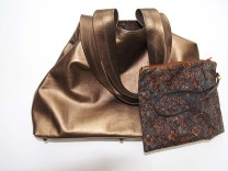Bronze metallic leather Tote bag and matching removable clutch bag