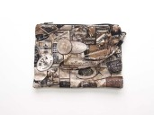 Printed grey, beige, brown black printed clutch bag with leather wrist strap
