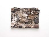 Printed grey, beige, brown black printed clutch bag with leather wrist strap