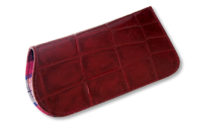 Red croc leather readers glasses case with tartan cotton lining