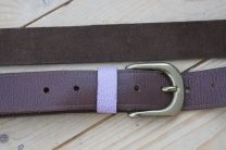 Brown Leather Slim Jim Guitar Strap with Lilac Accent
