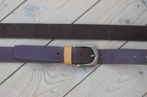 Brown Leather Slim Jim Guitar Strap with Ochre Accent