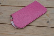 Pink leather glasses case with floral lining
