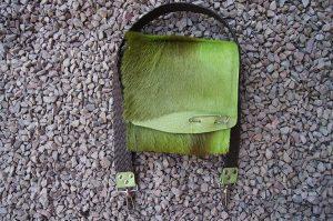 green punk springbock hide satchel