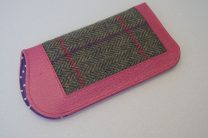 Tweed Glasses Case with pink leather trim